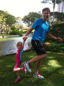 Neil Humphreys (with his daughter) will be running for the Children's Cancer Foundation.
