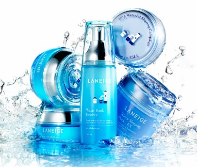 Laneige Water Bank series of products featuring packaging designed by Lotta Nieminen