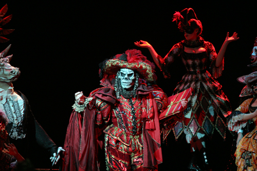 Spectacular costumes abound throughout the production. This is the Phantom in the Red Death scene.