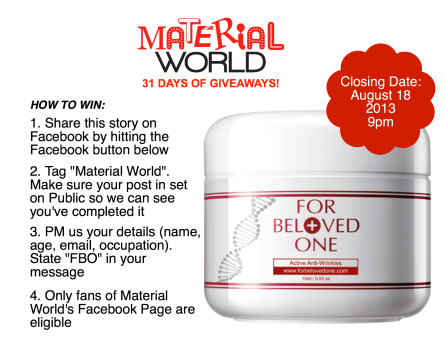 Share the beauty review of For Beloved One's new product on Facebook for a chance to win this eye cream!