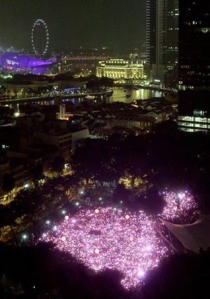 An aerial view of Pink Dot 2013
