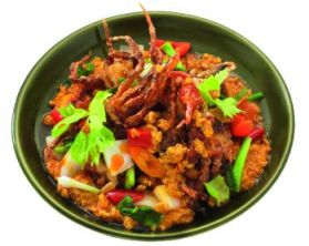 Phu Nim Phad Pong Karee (stir-fried soft shell crab with yellow curry)