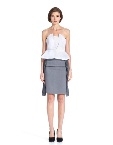 Midi Skirt with Pleated Side Panels in Grey, $179