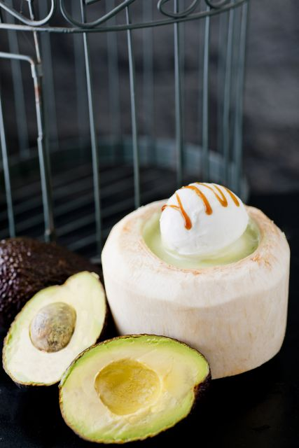 Peony Jade - Cream Of Avocado with Ice Cream Served in Young Coconut