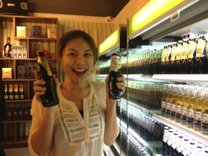 Lili is pleased with the great beer selection.