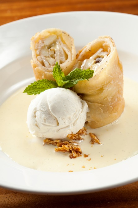 The Chop House - Apple Strudel in Tortilla with Vanillla Ice-Cream