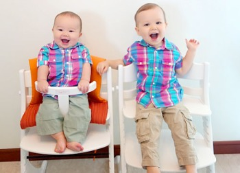 Beverly's insanely cute kids, Hunter and Carter. We'd forgive them anytime for being messy eaters!
