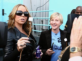 Mariah explains to Ellen DeGeneres how she worked with perfumers to capture the marshmallow at a campfire element in her first fragrance M by Mariah Carey