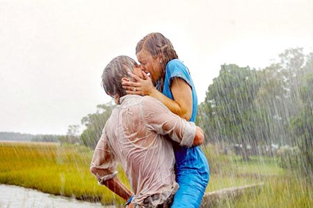 Kissing in the rain ... a must-have scene in every rom-com worth its salt