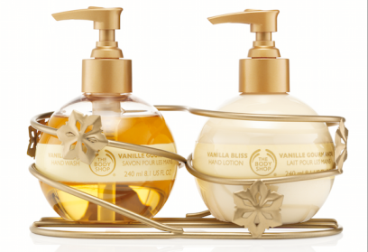 The Body Shop Vanilla Bliss Hand Care Duo, $29.90. The easy-to-use pump bottles are a dream come true!