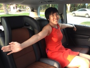 Denise demonstrating just how spacious the Sharan is