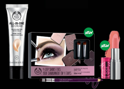 (From left) The Body Shop All-In-One BB Cream, $32.90; The Body Shop 4-Step Smoky Eye Palette in Icy Plum, $39.90 and The Body Shop Colour Crush Lipstic, $22.90