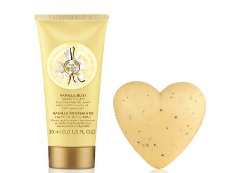 The Body Shop Vanilla Bliss Hand Cream and Heart Soap, $12.90 and $6.90 respectively