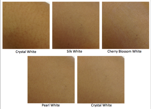 "This serves to illustrate how skin should look when 5 types of ""white"" are applied to it. This is NOT result created by the use of Shiseido Total Brightening Serum. Pictures have not been Photoshopped."
