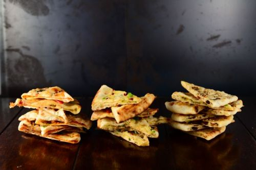 From left: Chilli Cheese Naan, Garlic Naan, Kashmiri Naan