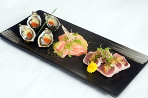 Oysters, Salmon Sashimi, and Tuna Tataki