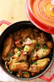 Sautéed Free Range Yellow French Chicken served with Potato, Lardons and Onion
