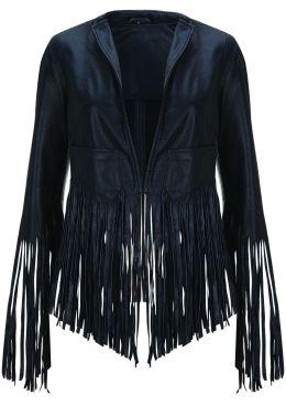 Fringe leather jacket, $439