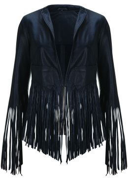Fringe leather jacket, $439