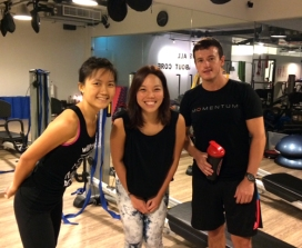 Neng Li (in the middle) with instructors Kimberly and Douglas.