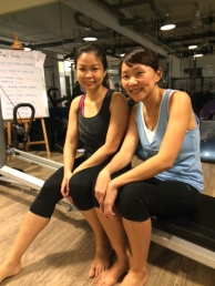 Adeline (in blue) with her friend who introduced her to Momentum Lab