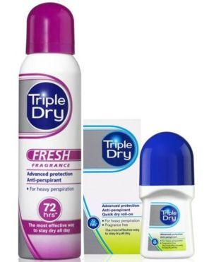 From left: Triple Dry Fresh Anti-Perspirant Spray, $17.90, and Triple Dry Roll-On, $15.90