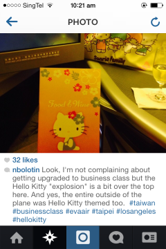 Found on Instagram! A traveler's reaction when he realizes he has been booked onto a Hello Kitty flight!