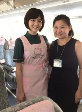 Here's a shot of me with an attendant wearing a Hello Kitty apron. I feel a bit like Maleficent standing next to her.