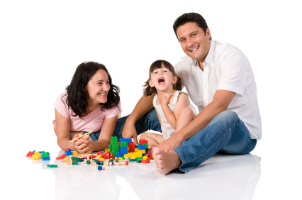 Happy family playing with blocks